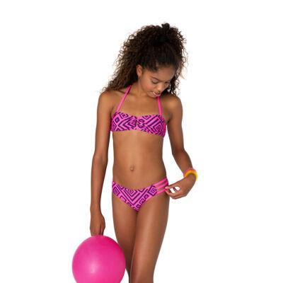 Neon pink alapon sötétkék mintás bikini
