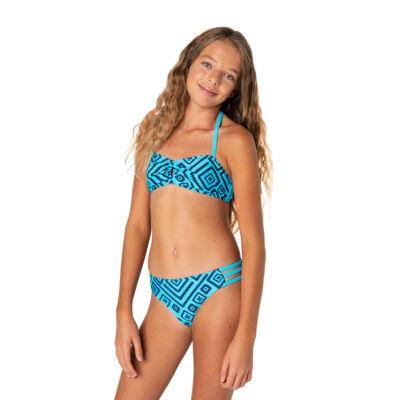 Türkizkék alapon sötétkék mintás bikini
