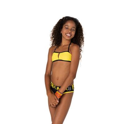 Sportos napsárga-fekete bikini Coco Bana felirítú derékkal