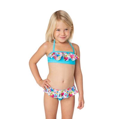 Türkizkék alapon színes pillangó mintás loknis bikini