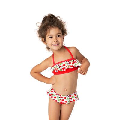Piros cseresznyemintás loknis bikini