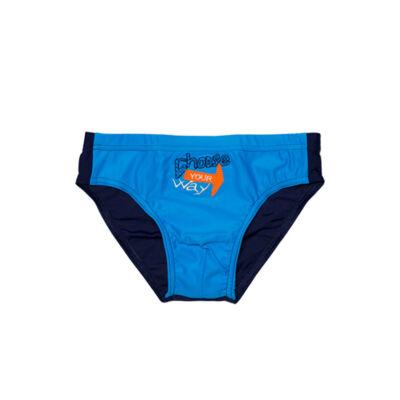 Kék hímzett fiú úszó - sötétkékkel