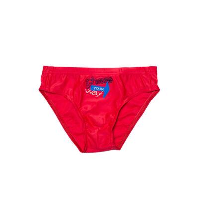 Piros hímzett fiú úszó
