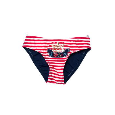 Piros csíkos tengerészes fürdőbugyi