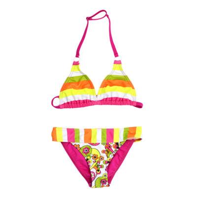 Neon csíkos bikini - pinkkel
