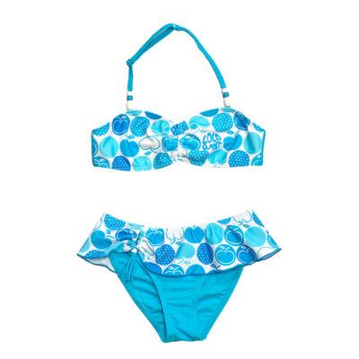 Kék almás és pöttyös mintájú bikini