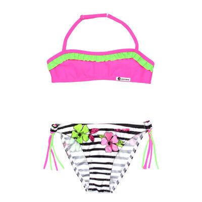 Pink csíkos virágos bikini