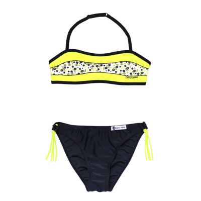 Neon sárga virágos bikini