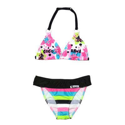 Virágmintás bikini csíkos bugyival