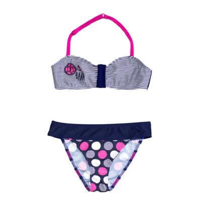 Vékony csíkos bikini - pink pöttyös bugyival