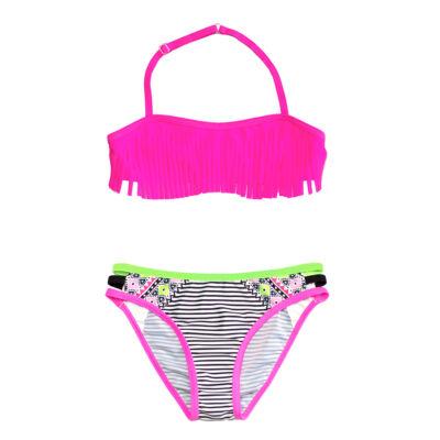 Pink rojtos bikini - inka mintás, csíkos bugyival