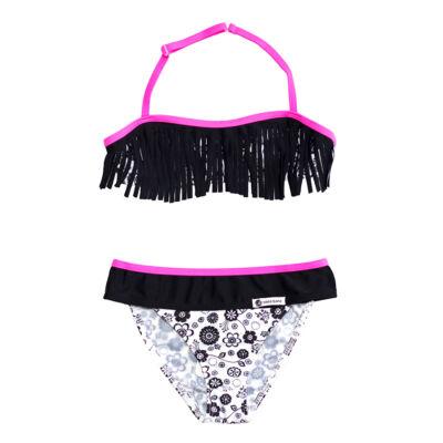 Fekete rojtos bikini pink szegéllyel