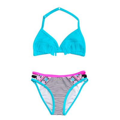 Kék rojtos bikini - inka mintás, csíkos bugyival