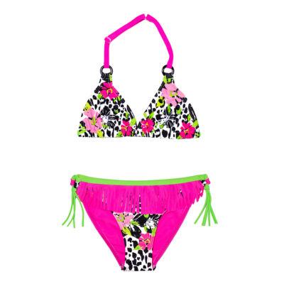 Párduc mintás virágos bikini
