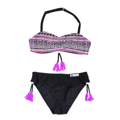Lila inka mintás bikini - fekete bugyival