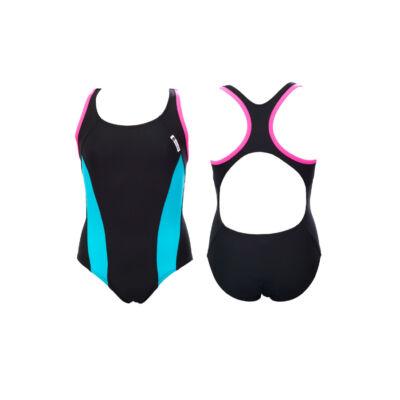Fekete lány úszódressz - kék oldalbetéttel