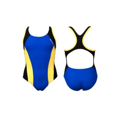 Kék lány úszódressz - sárga oldalbetéttel