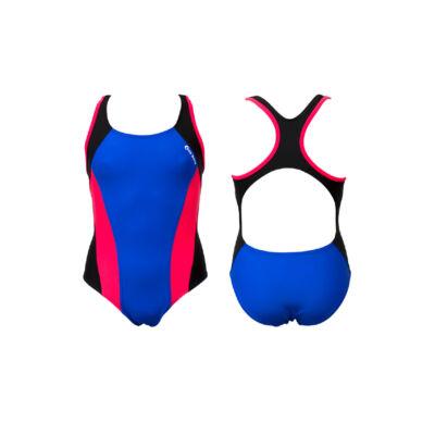 Kék lány úszódressz - sötét pink oldalbetéttel