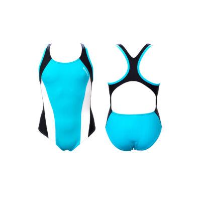 Világoskék lány úszódressz - fehér-fekete színnel