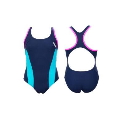 Sötétkék lány úszódressz - kék oldalbetéttel