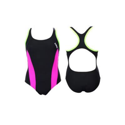 Fekete lány úszódressz - pink oldalbetéttel