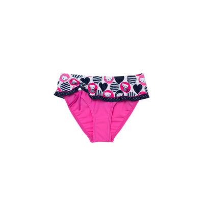 Pink kendős fürdő bugyi, kendője szíves karikás mintával