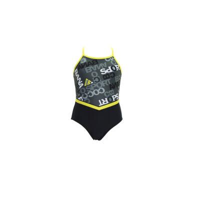 Fekete- szürke-sárga mintás sportos egyrészes fürdőruha
