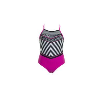 Pink, fekete-fehér csíkos sportos egyrészes fürdőruha