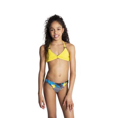 Sárga V kivágott fekete karikás bikini