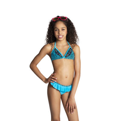 Kék háromszöges párducmintás bikini