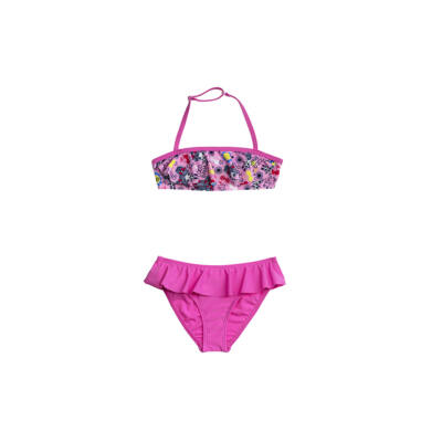Rózsaszín loknis bikini vidám nyári mintával
