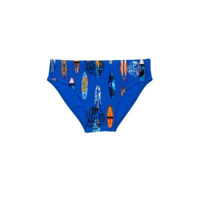 Világoskék színes szörfmintás fiú úszó