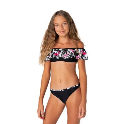 Flamingó mintás loknis vállú bikini