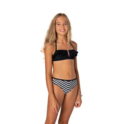 Fekete fodros csőtoppos bikini