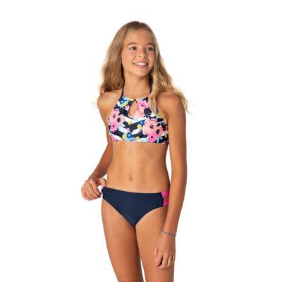 Sötétkék csíkos-virágos magasított bikini
