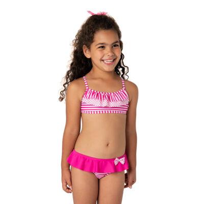 Pink-fehér csíkos fodros bikini