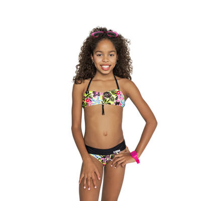 Neon virágos csőtoppos bikini