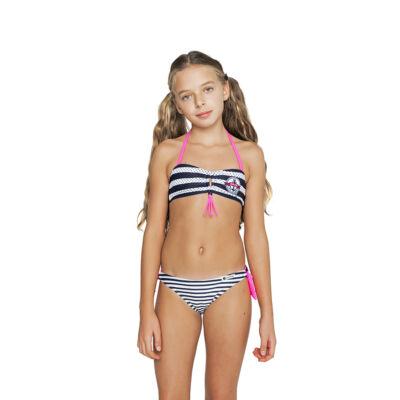 Kék csíkos csőtoppos bikini
