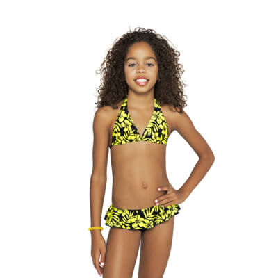 Sárga Hawaii virágos bikini