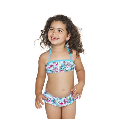 Kék fodros-virágos mini bikini