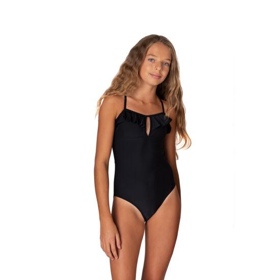 Fekete egyszínű egyrészes fürdőruha