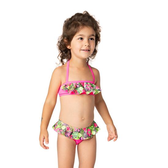 Pálma és gyümölcs mintás pink bikini