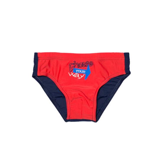 Piros hímzett fiú úszó - sötétkékkel