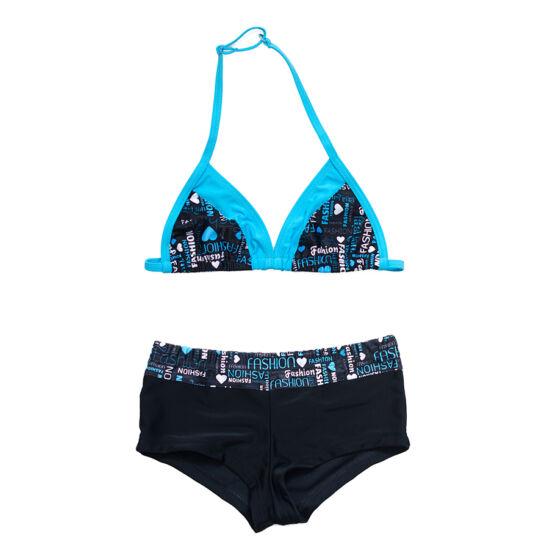 Kék sortos bikini - háromszöges toppal