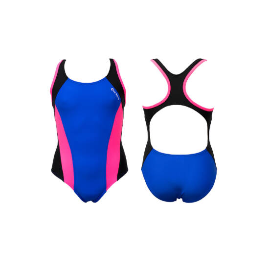 Kék lány úszódressz - pink oldalbetéttel
