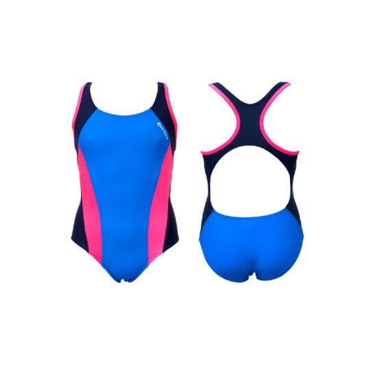 Világoskék lány úszódressz - pink oldalbetéttel