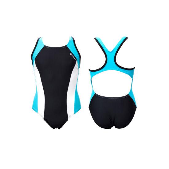 Fekete lány úszódressz - fehér-világoskék színnel