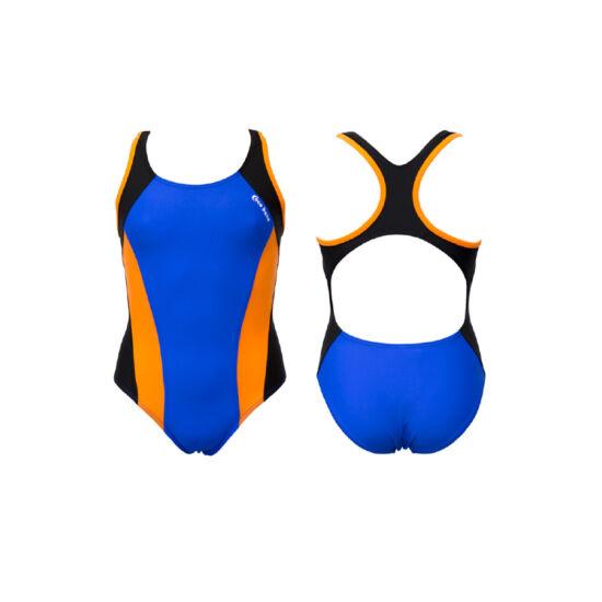 Kék lány úszódressz - narancssárga oldalbetéttel
