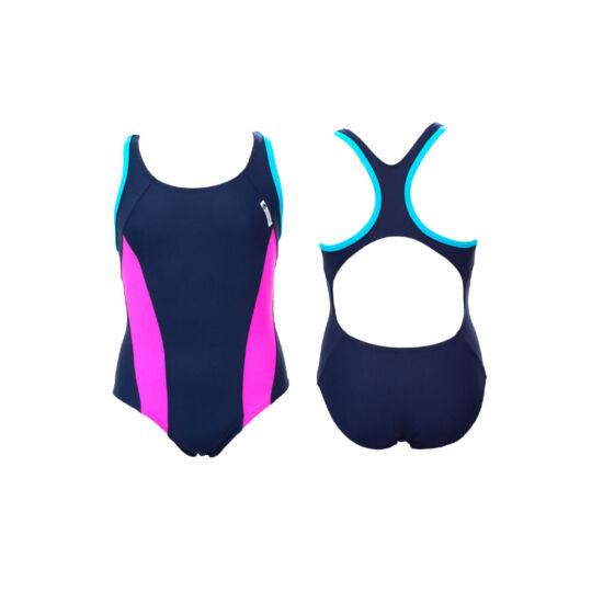 Sötétkék lány úszódressz - pink oldalbetéttel