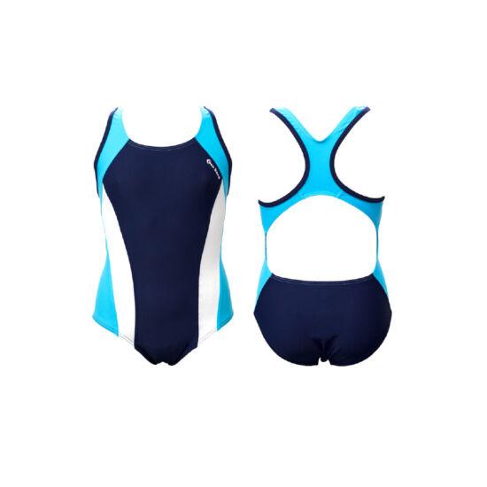 Sötétkék lány úszódressz - fehér-világoskék színnel